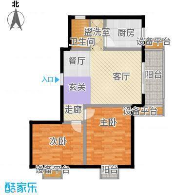 大华锦绣华城90.00㎡三期13#楼标准层E1户型