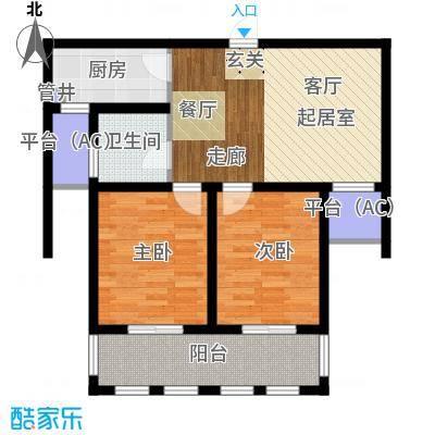 乐居雅花园75.00㎡一期07-09号楼标准层D-2户型