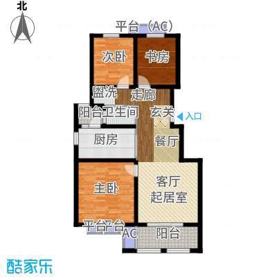 乐居雅花园98.00㎡一期14-15号楼标准层E-1户型