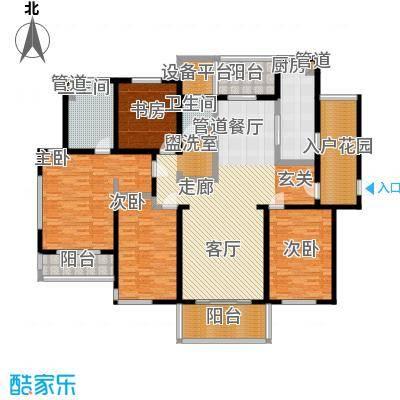 长江峰景185.00㎡一期3号楼标准层A户型