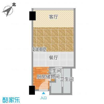 雨润国际广场60.00㎡一期洲际行政公寓标准层A1-1b户型