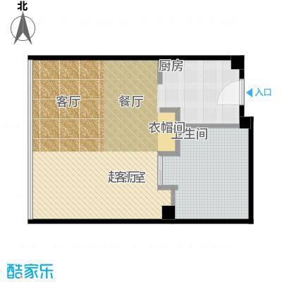 雨润国际广场87.00㎡一期洲际行政公寓标准层B1-2户型