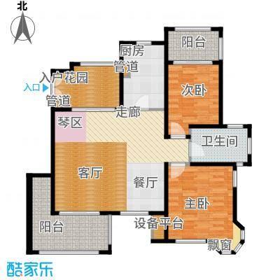 红鼎湾花园100.00㎡多层2-6#楼标准层K户型
