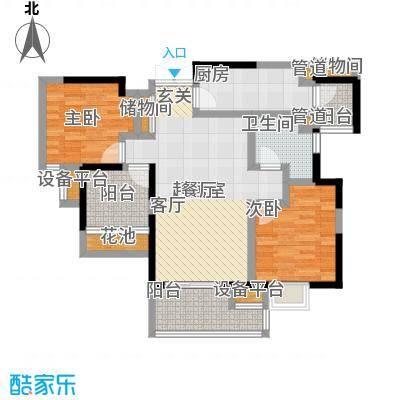 富力十号91.00㎡一期40-46号楼标准层II02户型