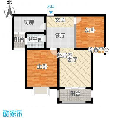 北宸新苑91.00㎡二期7、9、11号楼标准层B1户型