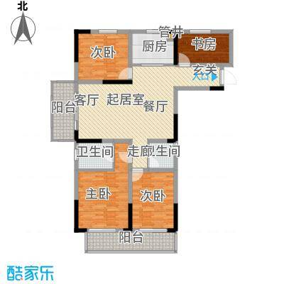竹山华庭124.00㎡一期1、2号楼标准层C2户型