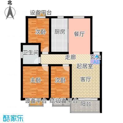 垠领城市街区110.21㎡一期1、3-5、7-9号楼标准层E1户型