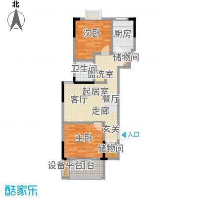 爱涛天逸园74.00㎡五期26栋标准层J1户型