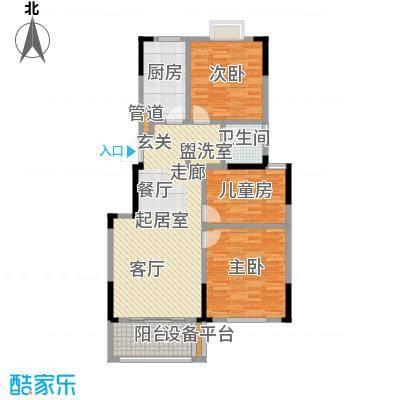 爱涛天逸园96.00㎡五期26栋标准层H1户型