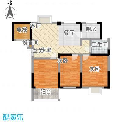 福基现代城88.71㎡一期1号楼1-8层B3户型