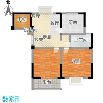 福基现代城86.90㎡一期1号楼1-9层B2户型