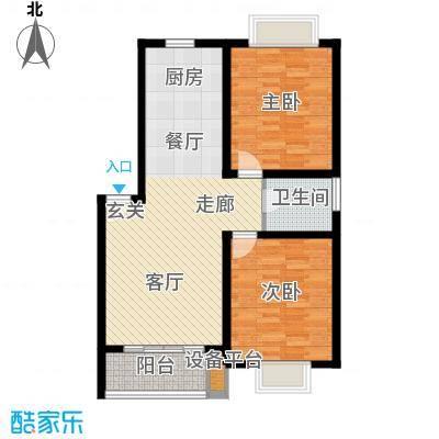 盛泉新城83.83㎡三期13#1-6层D户面积8383m户型