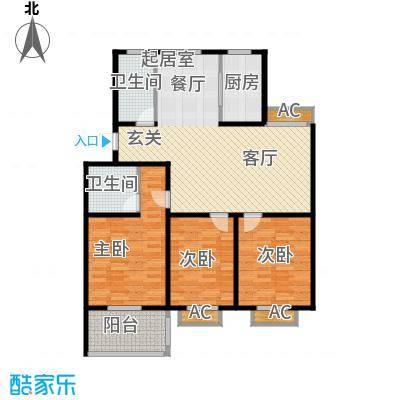 颐园世家119.08㎡二期20-28栋标准层E户型