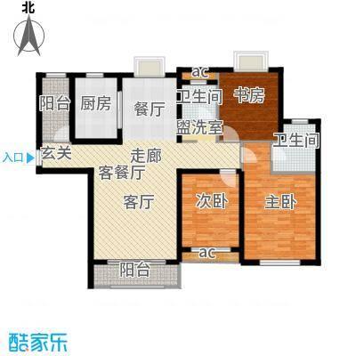 香樟园128.37㎡30号楼E2面积12837m户型