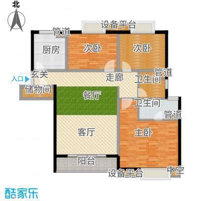 世茂君望墅122.00㎡一期3-4幢标准层B10户型