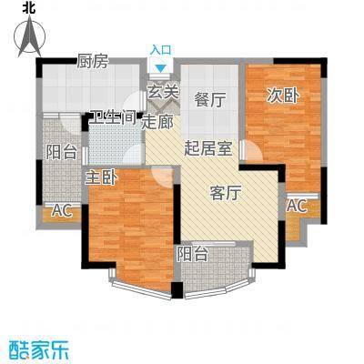 蓝天华门国际花园91.14㎡一期1-3号楼标准层A户型