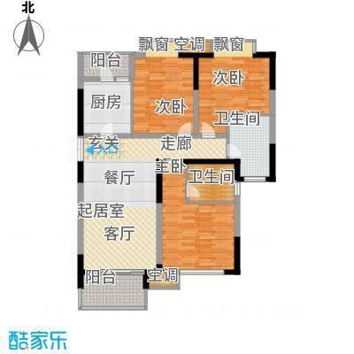 麒麟山庄110.00㎡二期21栋标准层h7户型