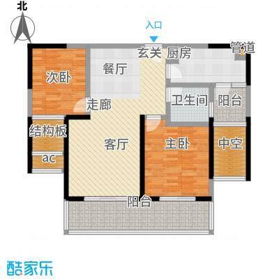 世茂外滩新城105.00㎡二期8号楼标准层D1户型