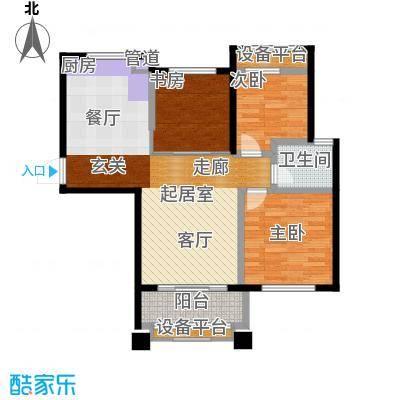 盈嘉香榴湾81.66㎡08幢标准层I户面积8166m户型