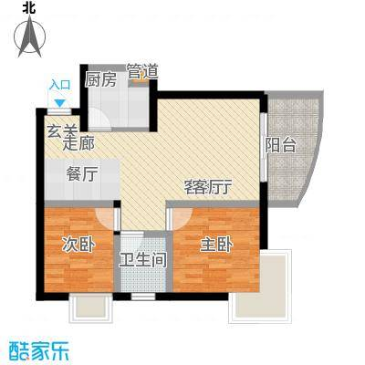 广厦城江畔语林62.82㎡平层面积6282m户型