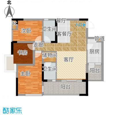 国盛伟岸滨洲101.00㎡2号楼K面积10100m户型