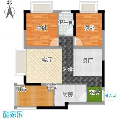 康田龙腾湾64.00㎡面积6400m户型