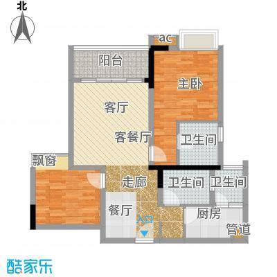 国盛伟岸滨洲72.53㎡2号楼F面积7253m户型