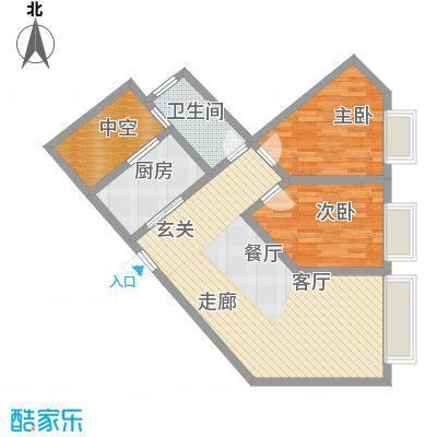 康路蓝山日记80.44㎡B51面积8044m户型