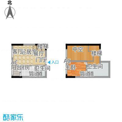 龙城国际52.79㎡一期标准层B2-N面积5279m户型