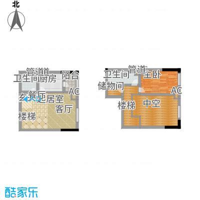 龙城国际55.34㎡一期标准层B2-J面积5534m户型