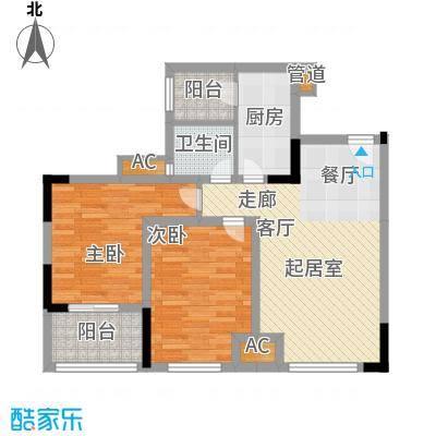 龙城国际65.56㎡一期标准层B2-F面积6556m户型