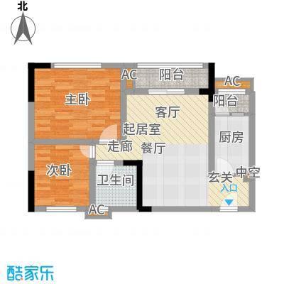 龙城国际59.10㎡一期标准层B2-A面积5910m户型