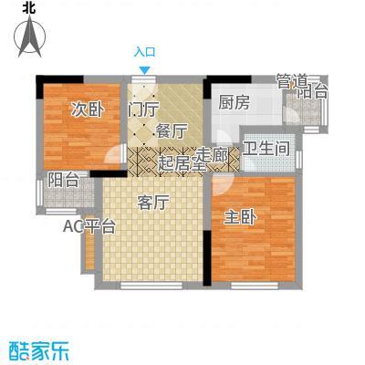 龙城国际59.04㎡一期标准层B2-G面积5904m户型