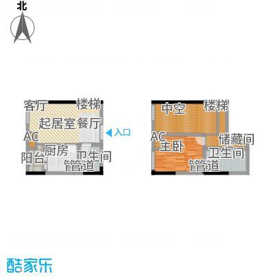 龙城国际53.50㎡一期标准层B2-M面积5350m户型