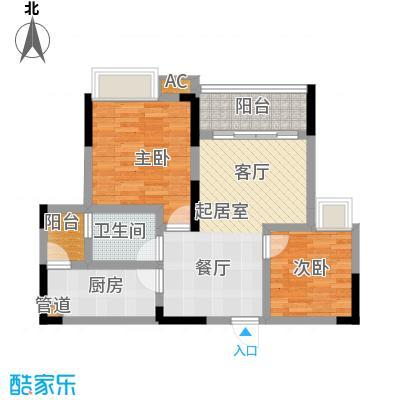 红树林60.84㎡3期4号楼D面积6084m户型
