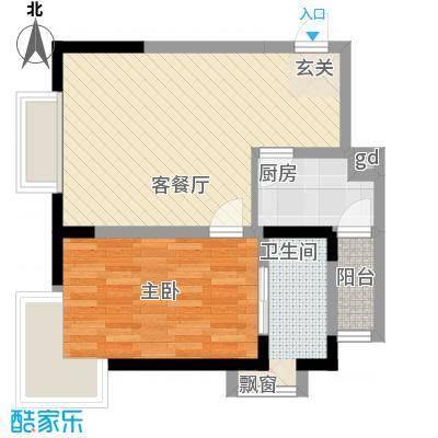 金象左右SOLO公寓52.12㎡B4面积5212m户型