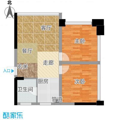 水晶石国际公寓58.00㎡A6B6面积5800m户型