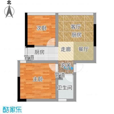 水晶石国际公寓48.00㎡A7B7面积4800m户型