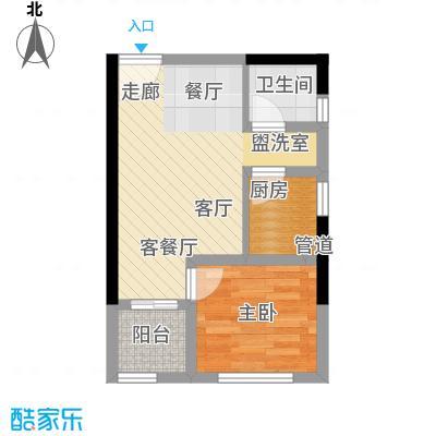 首创iHOME39.51㎡1号楼14/15号房面积3951m户型