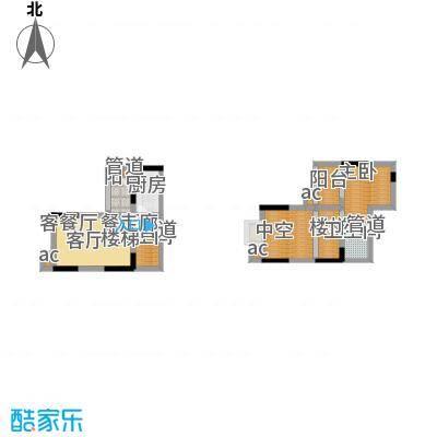 首创iHOME63.18㎡2号楼16号房1面积6318m户型