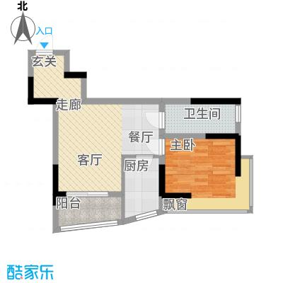 铂蓝地58.22㎡B(15-16)1面积5822m户型