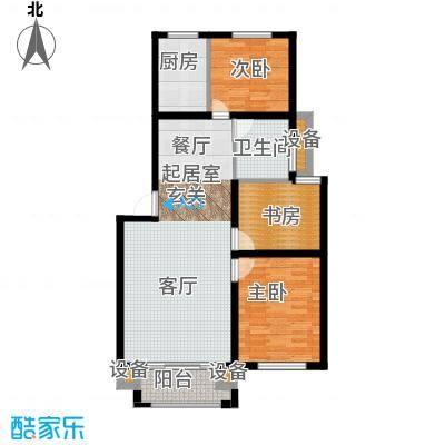 天泽苑95.64㎡3期17、18#楼标准层A2户型