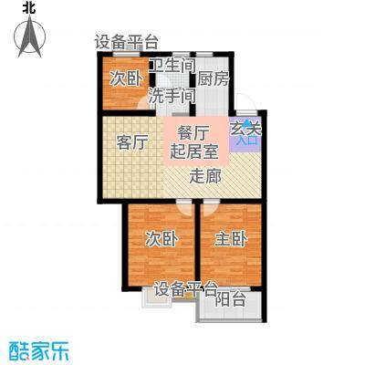 垠领城市街区97.56㎡一期1、2、8、10号楼标准层A2户型