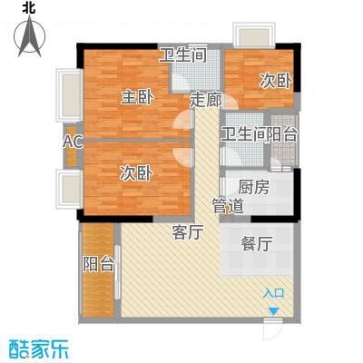 一城龙洲94.50㎡1315号楼D面积9450m户型