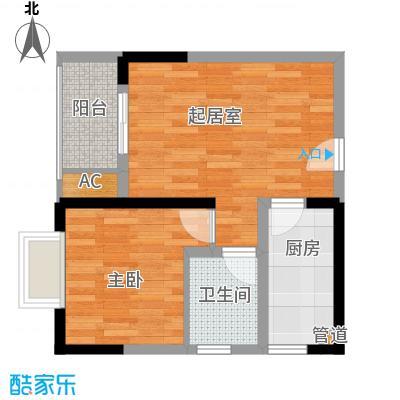 一城龙洲44.67㎡5、11号楼E面积4467m户型