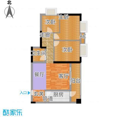一城龙洲82.08㎡1315号楼A面积8208m户型