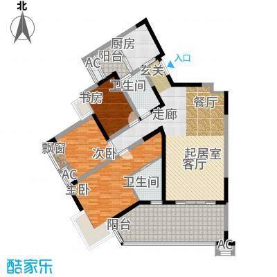 丽水菁苑栖景湾117.23㎡3号楼A型面积11723m户型