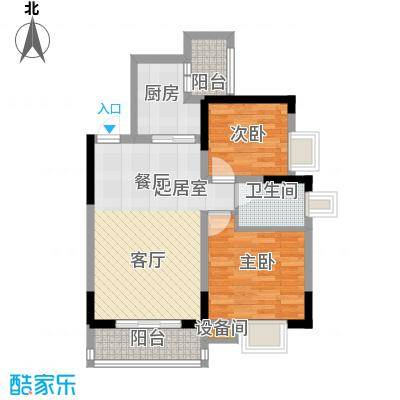 蓝色星空66.38㎡狮子座1号楼1(2面积6638m户型