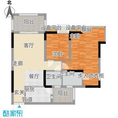 绿地翠谷勃朗廷84.29㎡标准层01面积8429m户型