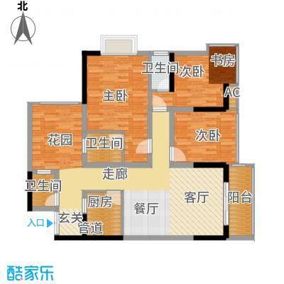 旭庆江湾国际花都96.08㎡C4-6号面积9608m户型